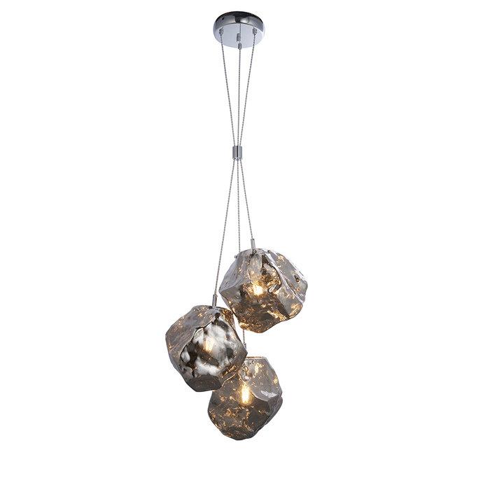 Rock - Silver Glass and Chrome 3 Light Pendant Light