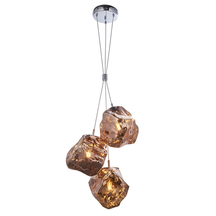 Rock 3 - Copper Glass and Chrome Light Pendant Light