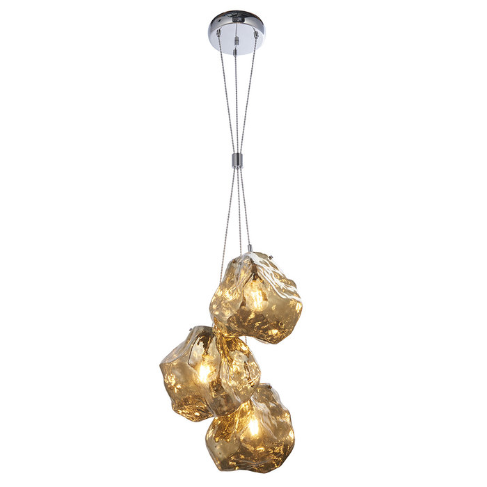 Rock - Bronze Glass and Chrome 3 Light Pendant Light