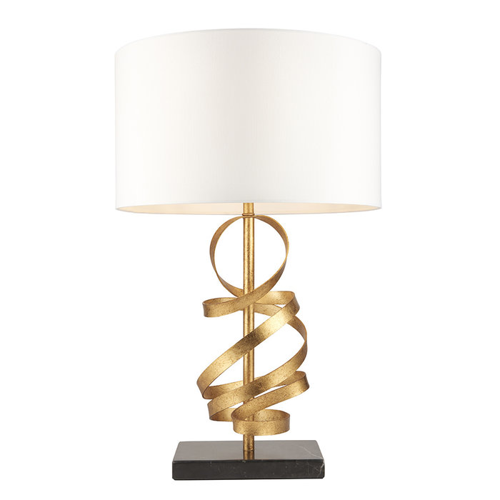 Murton - Gold Ribbon Table Lamp with Ivory Shade