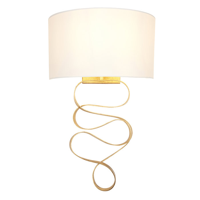 Murton - Gold Ribbon LED Wall Light with Ivory Shade