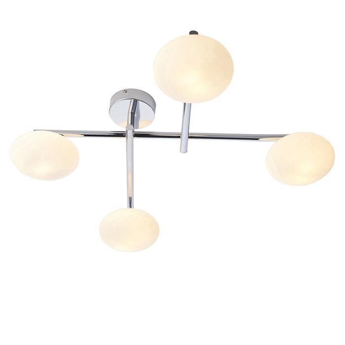 Danby - Chrome Semi Flush Ceiling Light with Opal Glass Shades