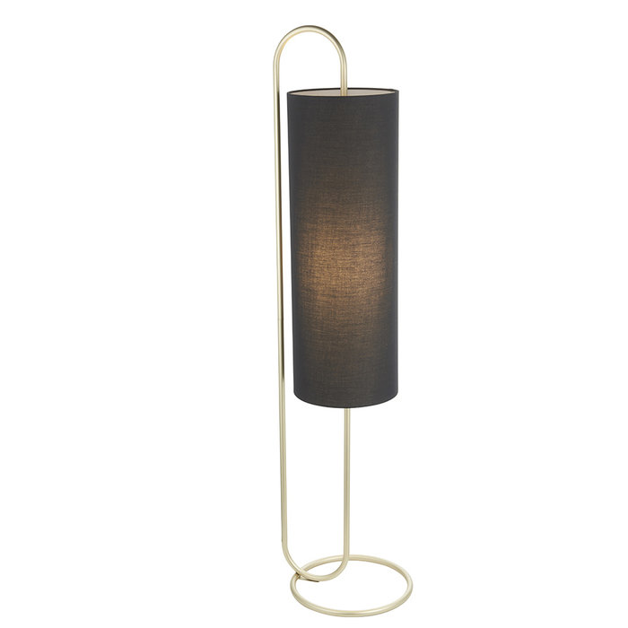 Rowantree - Oval Antique Brass Floor Lamp with Black Shade