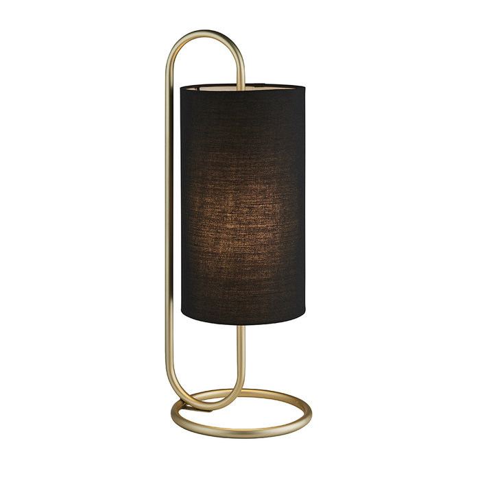 Rowantree - Oval  Antique Brass Table Lamp with Black Shade