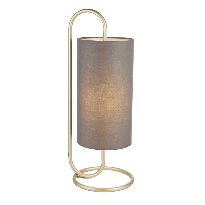 Rowantree - Oval Antique Brass Table Lamp with Grey Shade