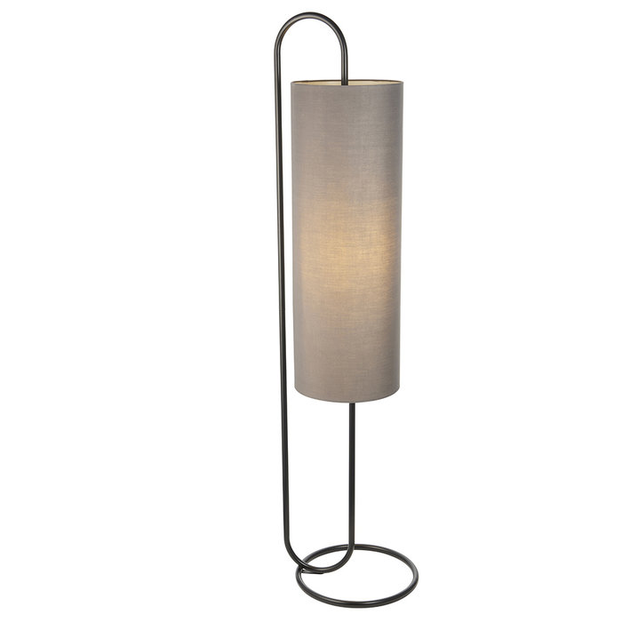 Rowantree - Oval Matt Black Floor Lamp with Grey Shade