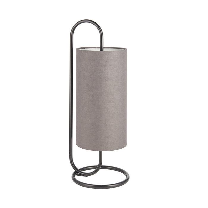 Rowantree - Oval Matt Black Table Lamp with Grey Shade