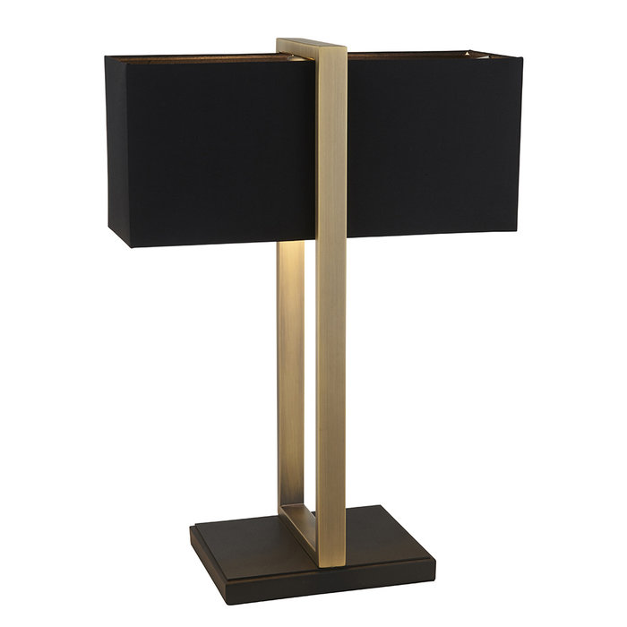 Eskdale - Rectangle Antique Brass Table Lamp with Black Shade