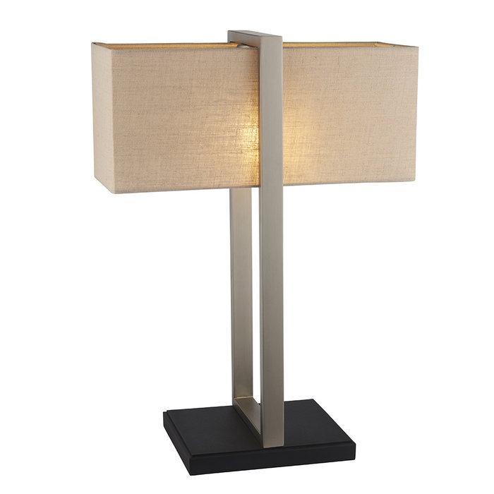 Eskdale - Rectangle Satin Nickel Table Lamp with Natural Shade