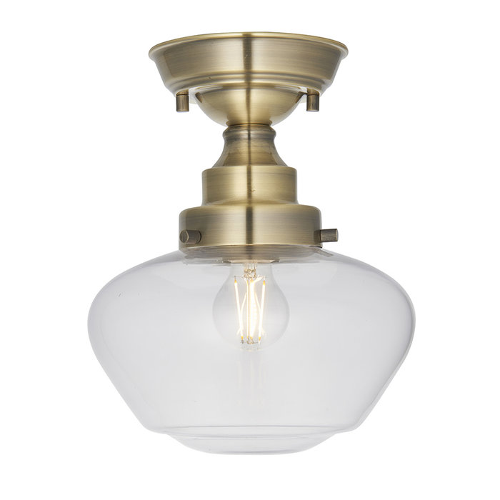 Caygill - Antique Brass Semi Flush Ceiling Light with Glass Shade