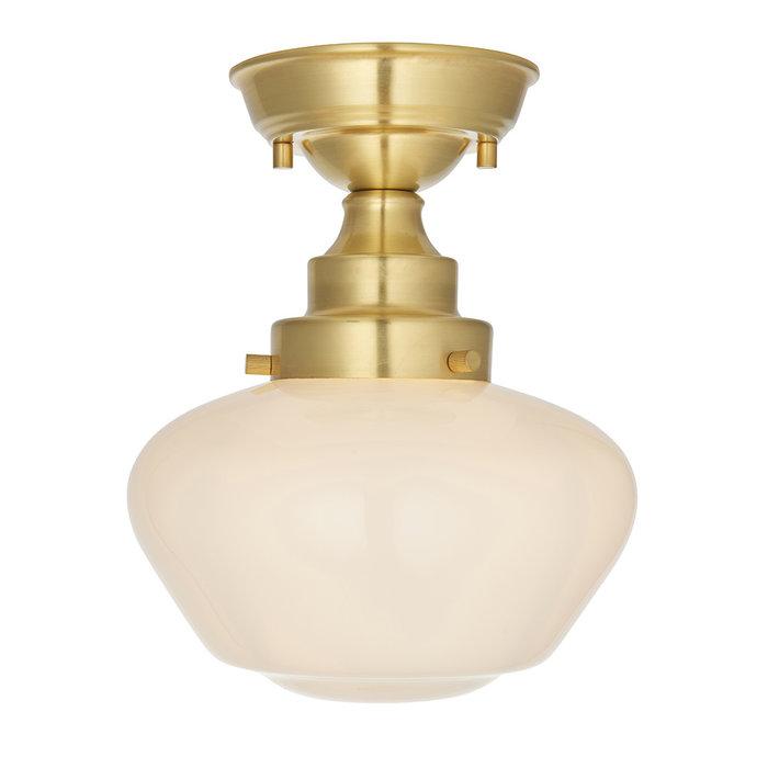 Caygill - Satin Brass Semi Flush Ceiling Light with Opal Glass Shade