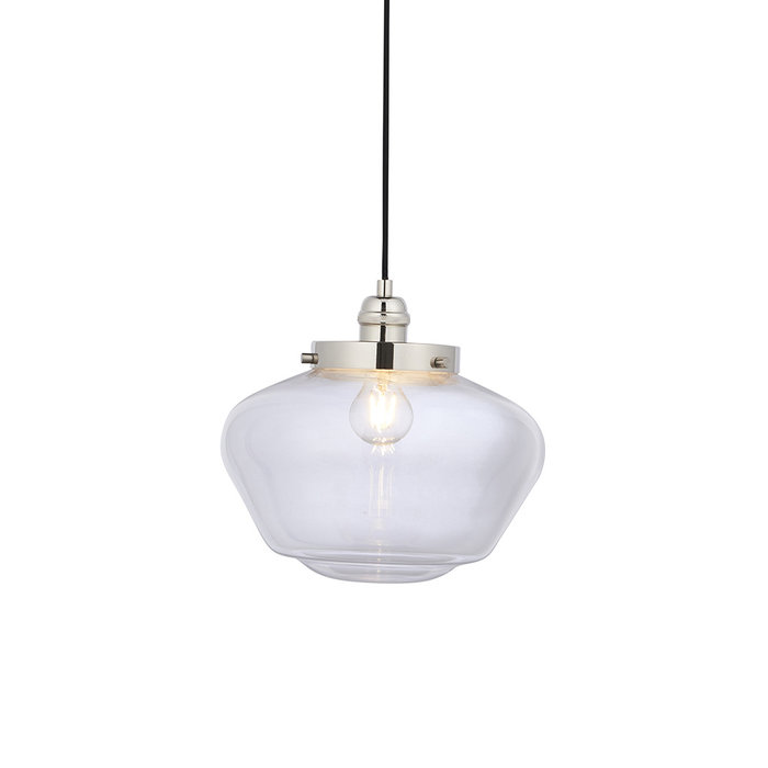 Caygill - Bright Nickel Pendant Light with Glass Shade