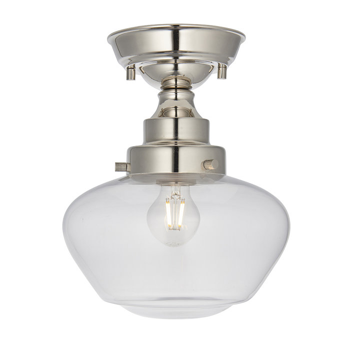 Caygill -  Bright Nickel Semi Flush Ceiling Light with Glass Shade