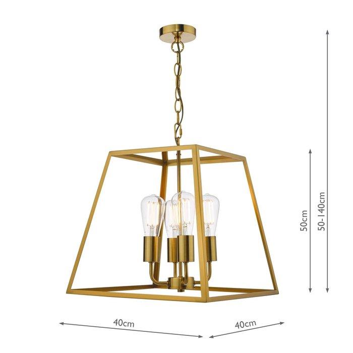 Academy 4 Light Lantern Natural Brass