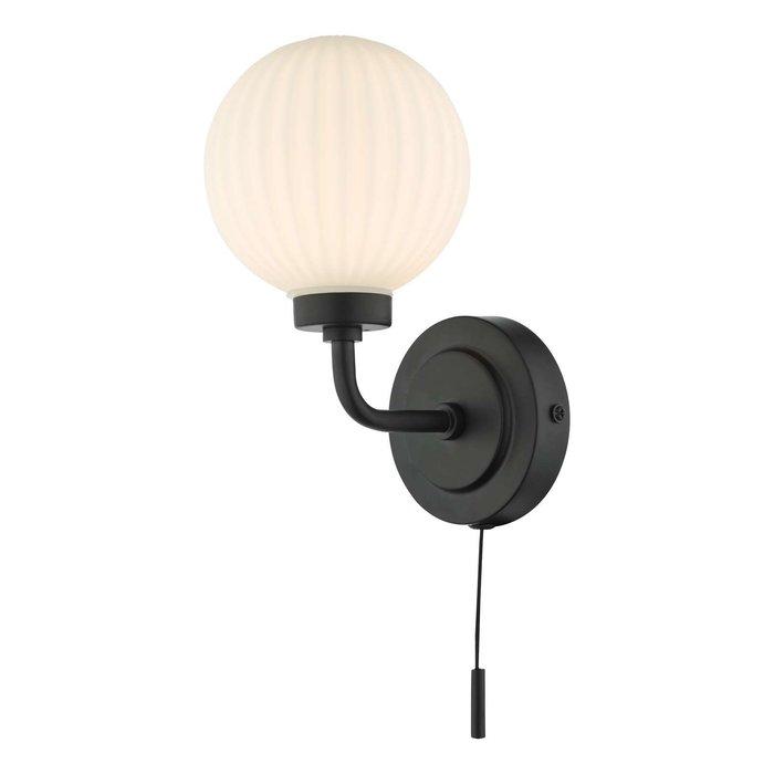 Alrik 1 Light Wall Light - Matt Black Opal Glass IP44