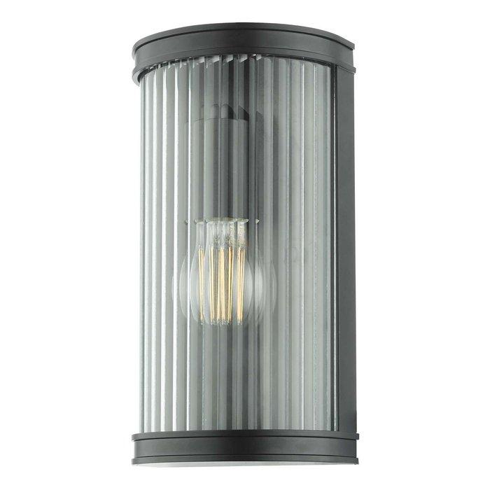 Anund 1 Light Wall Light - Matt Black Ribbed Glass IP44