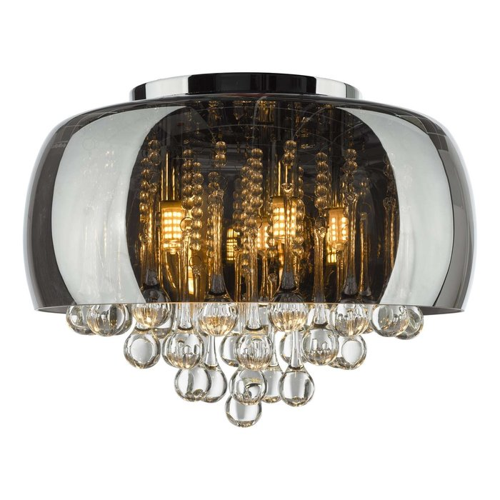 Aviel 5 Light Flush Ceiling Light - Smoked Shade With Clear Glass Droppers