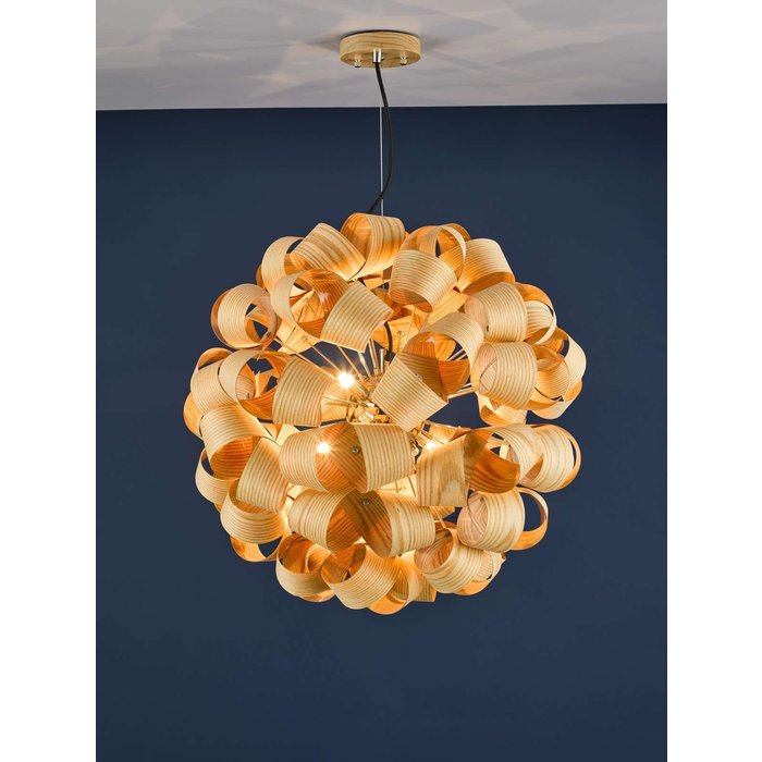 Ayna 6 Light Single Pendant Light - Real Ash Veneer Satin Nickel