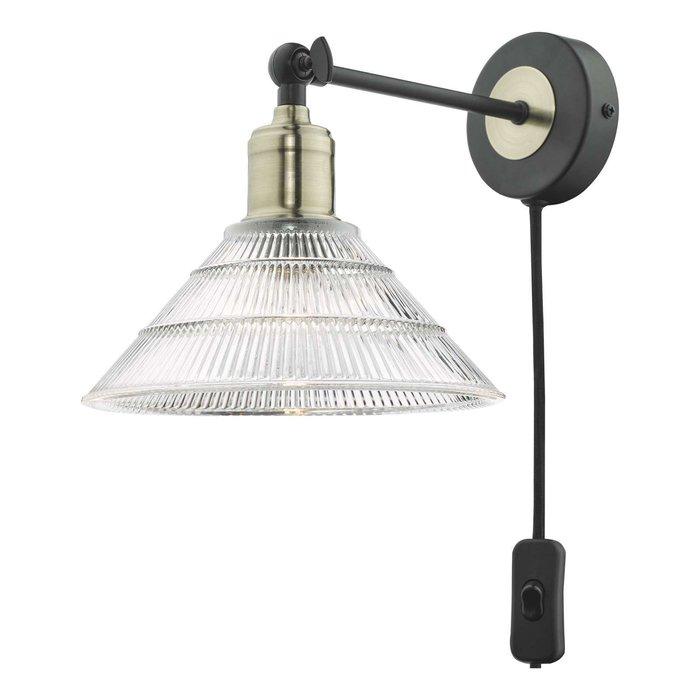Boyd Single Wall Light - Antique Brass & Matt Black With Ribbed Glass Shade - Plug In