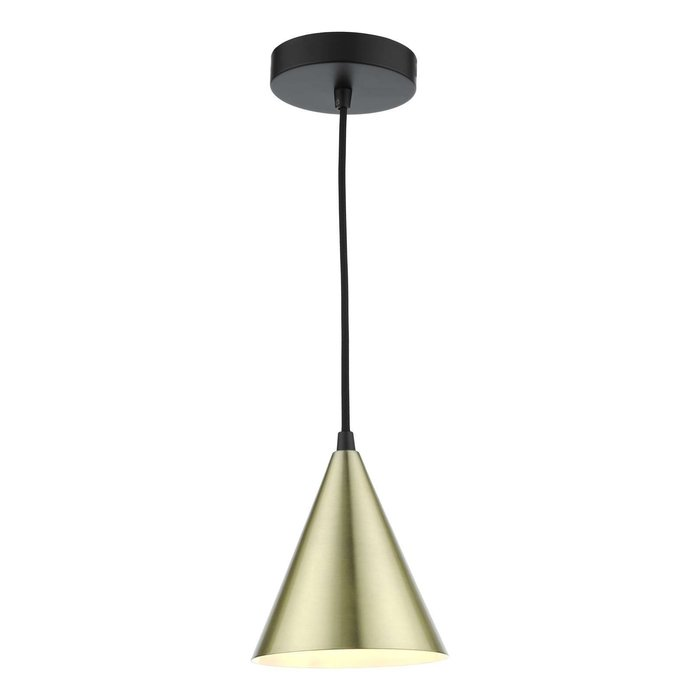 Branco 1 Light Pendant Light - Matt Black And Satin Gold
