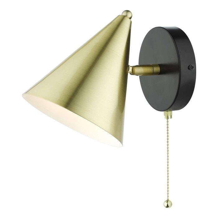 Branco 1 Light Wall Light - Matt Black And Brass