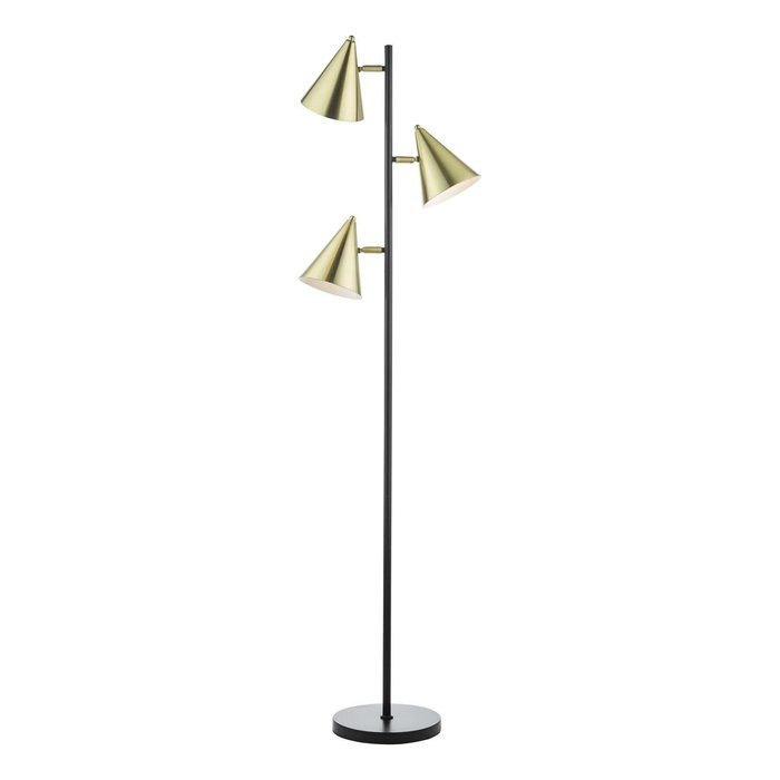Branco 3 Light Floor Lamp - Matt Black And Brass