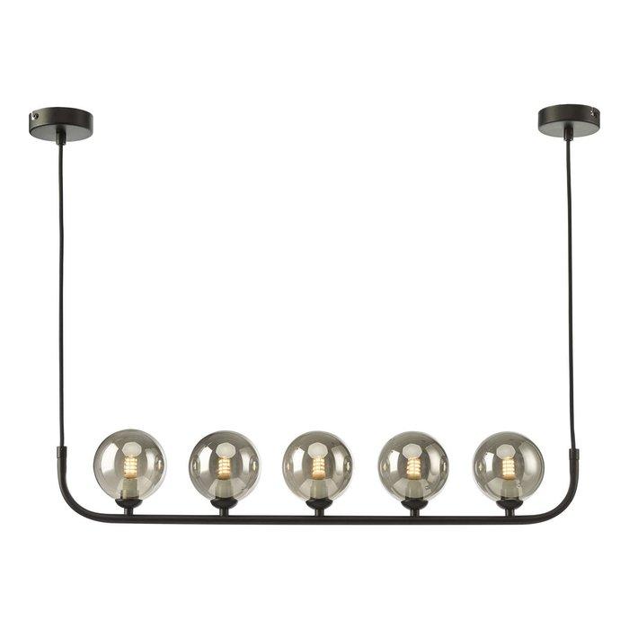 Cradle 5 Light Bar Pendant Light - Matt Black With Smoked Glass