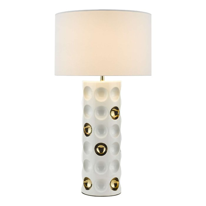 Dimple 1 Light Ceramic Table Lamp - Gloss White Gold With Shade