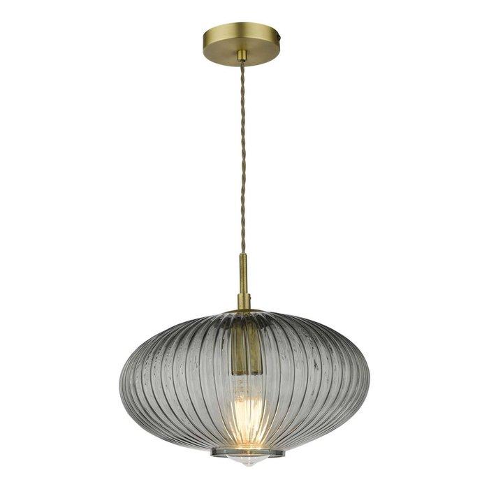 Edmond 1 Light Pendant Light - Smoked Glass Antique Brass Detail
