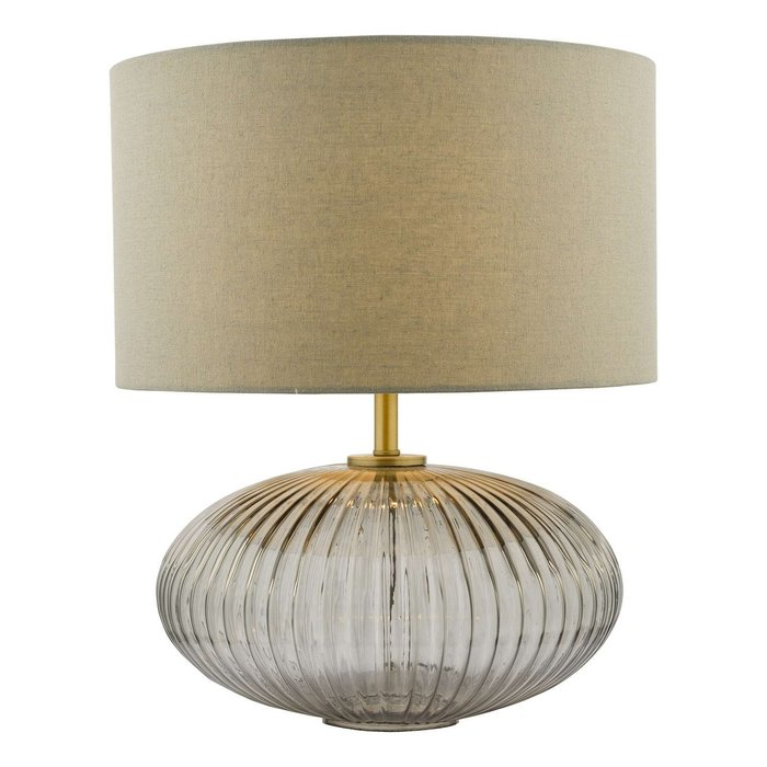 Edmond Table Lamp - Smoked Glass Antique Brass Detail With Shade