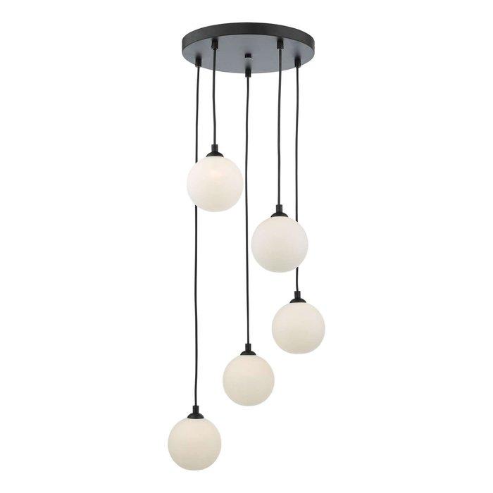 Federico 5 Light Cluster Pendant Light - Black Opal Glass