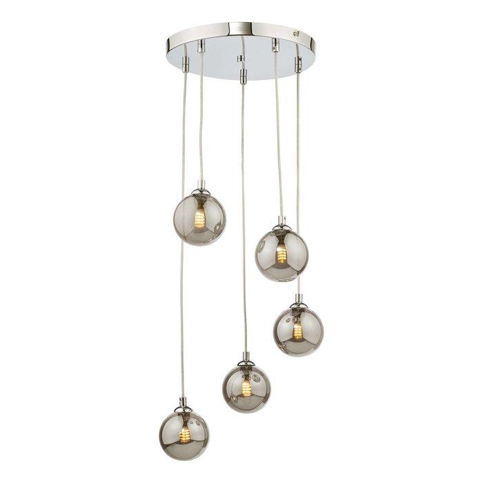 Federico 5 Light Cluster Pendant Light - Polished Chrome Smoked Glass