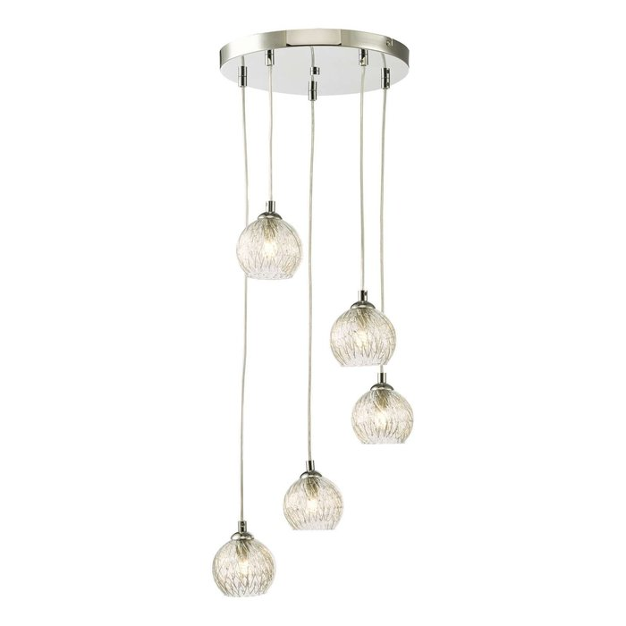 Federico 5 Light Cluster Pendant Light - Polished Chrome Clear/Wire Glass