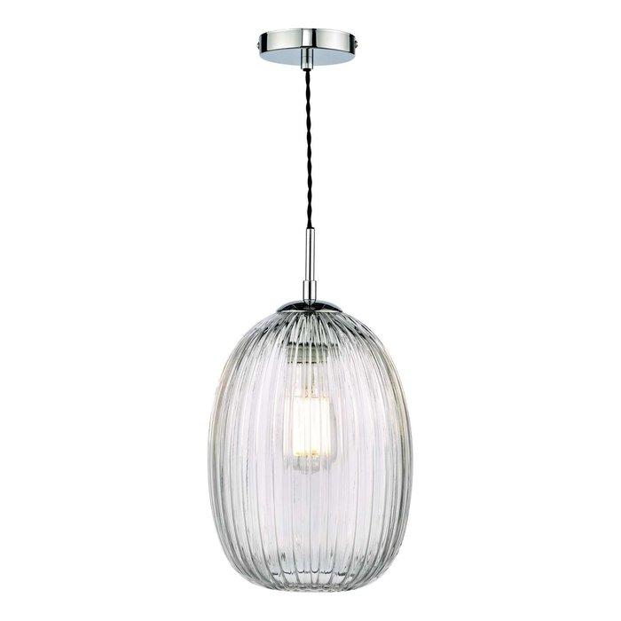 Gerard 1 Light Single Pendant Light - Polished Chrome Ribbed Glass