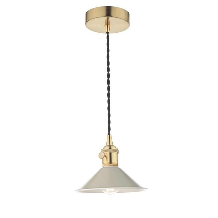 Hadano 1 Light Pendant Light - Natural Brass With Cashmere Shade