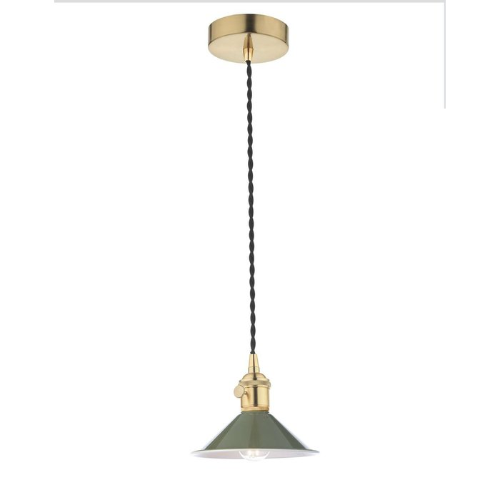 Hadano 1 Light Pendant Light - Natural Brass With Olive Green Shade