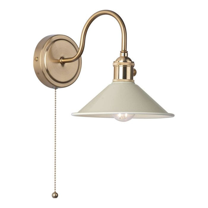 Hadano 1 Light Wall Light - Natural Brass With Cashmere Shade
