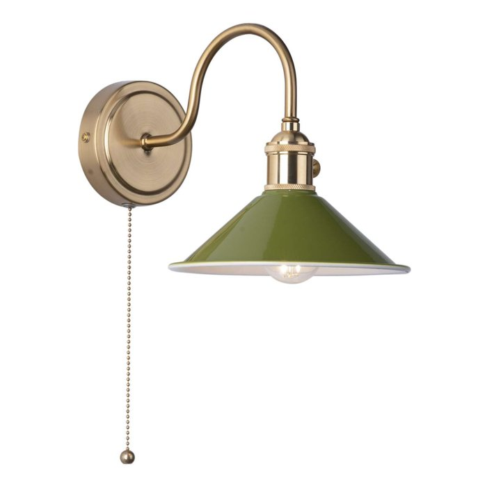 Hadano 1 Light Wall Light - Natural Brass With Olive Green Shade