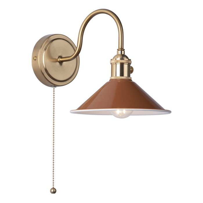 Hadano 1 Light Wall Light - Natural Brass With Umber Shade