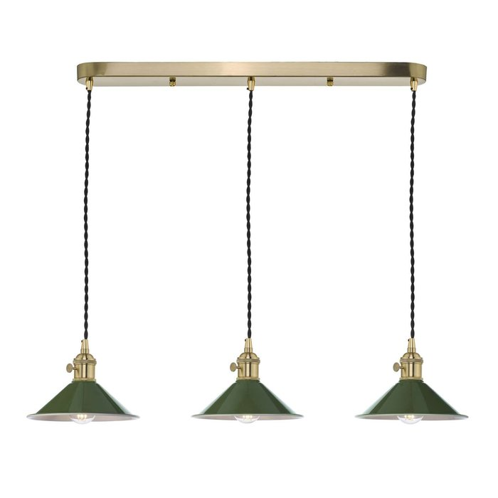Hadano 3 Light Brass Suspension With Olive Green Shades