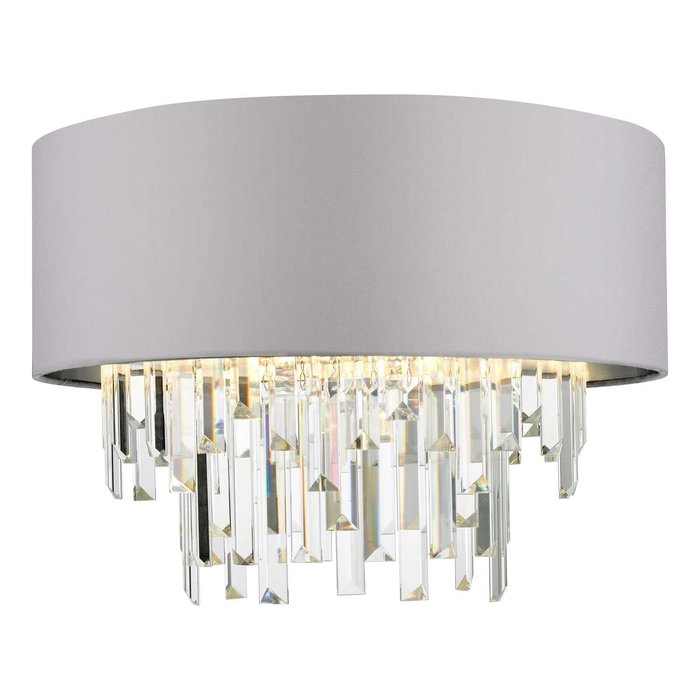 Halle 4 Light Flush Ceiling Light - Grey Shade Crystal