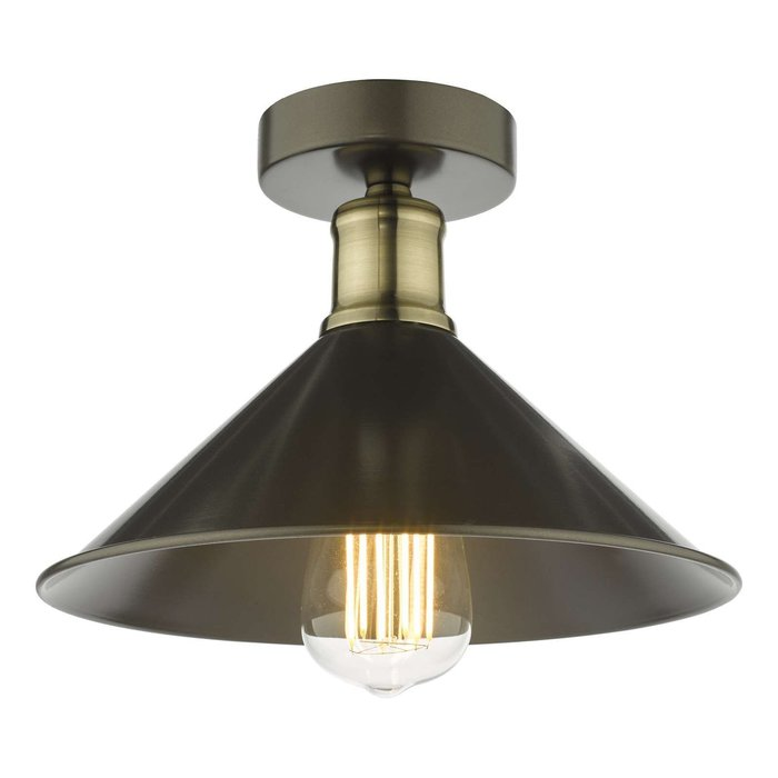 Jalen 1 Light Flush Ceiling Light - Graphite Antique Brass