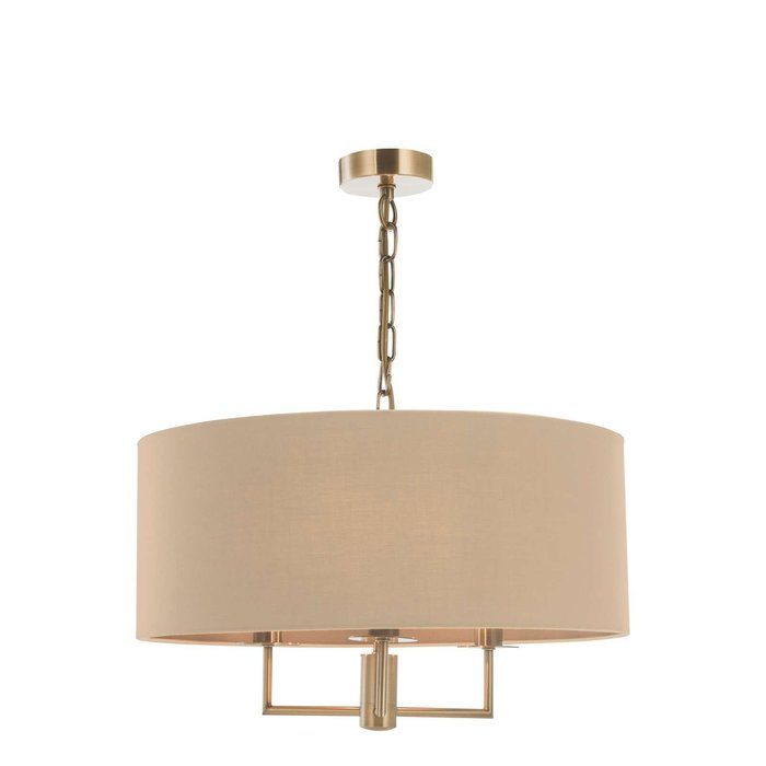 Jamelia 3 Light Shadelier Pendant Light - Antique Brass Taupe Shade