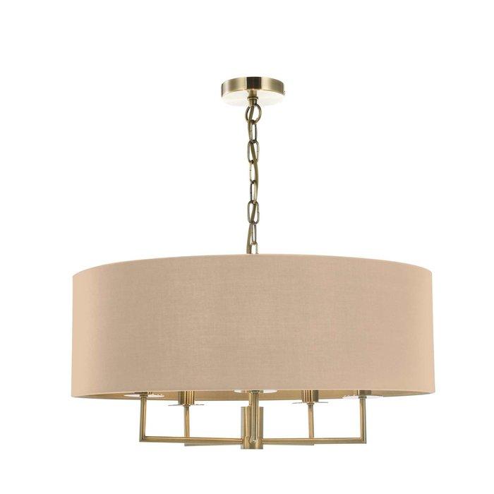 Jamelia 5 Light Shadelier Pendant Light - Antique Brass Taupe Shade