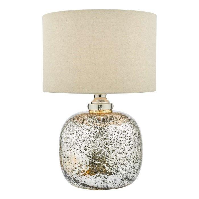 Lava Dual Light Table Lamp - Polished Nickel Volcanic Glass With Shade