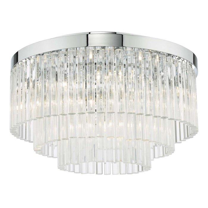 Logan 5 Light Flush Ceiling Light - Polished Chrome Glass