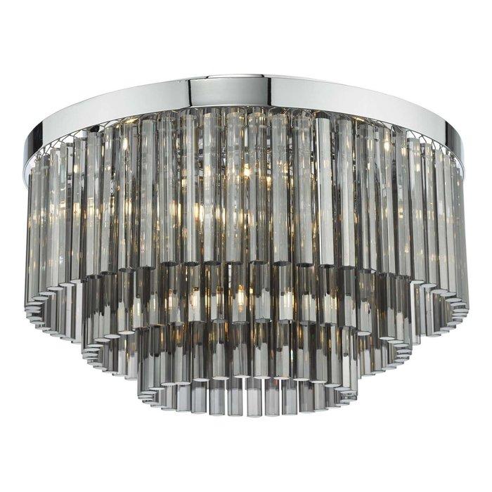 Logan 5 Light Flush Ceiling Light - Polished Chrome Smoked Glass