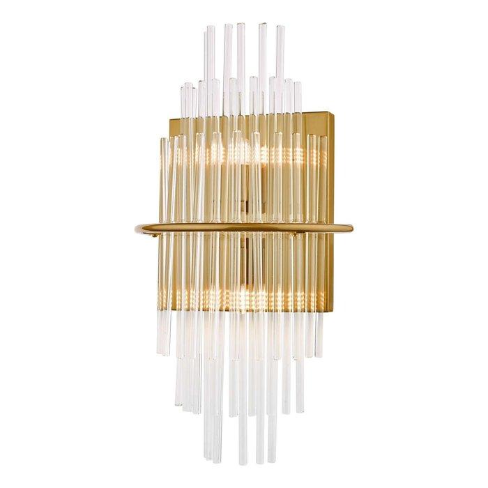 Lukas 2 Light Wall Light - Antique Gold Glass