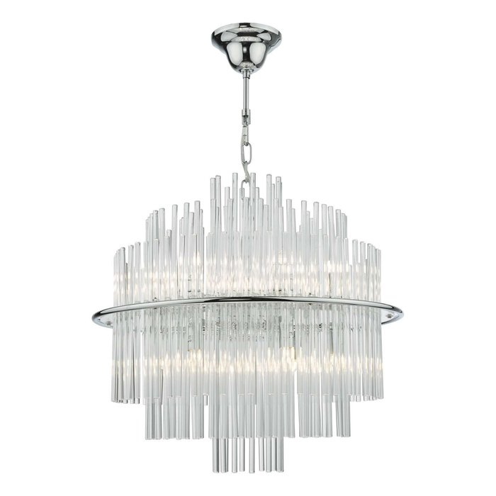 Lukas 13 Light Pendant Light - Polished Chrome Glass