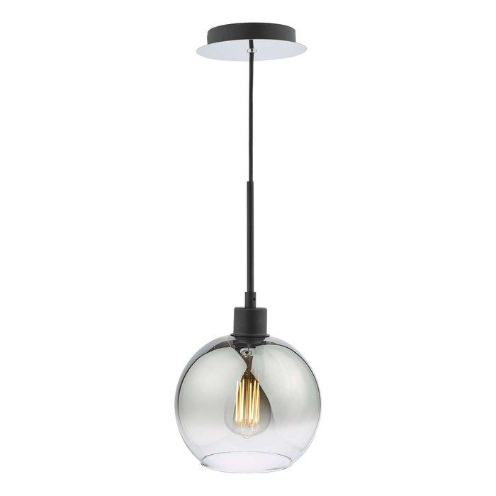 Lycia 1 Light Single Pendant Light - Matt Black Ombre Smoked Glass